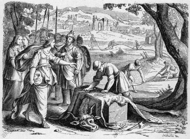 Dido's ossenvel, uit de Aeneis van Vergilius